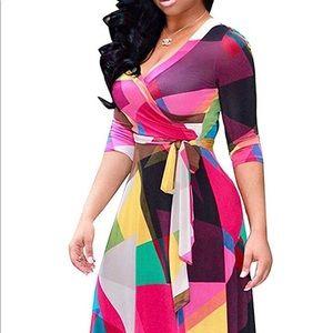 Women's V Neck 3/4 Sleeve Floral Maxi Dress w/Belt